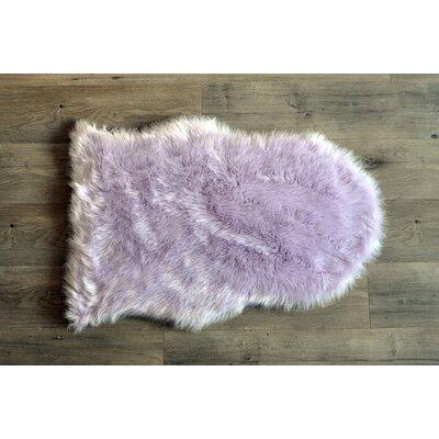 Demetra Faux Sheepskin Lavender/White Area Rug Rug Size: Novelty 2' x 3'