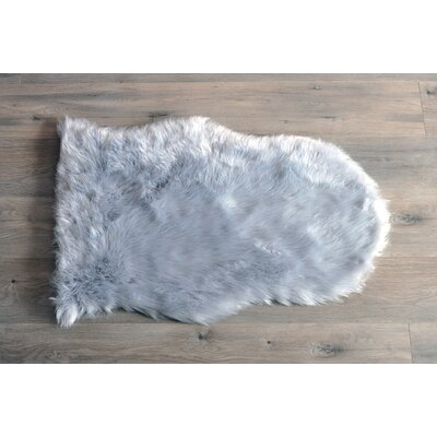 Deshazo Faux Sheepskin Gray/White Area Rug Rug Size: Novelty 2 x 3