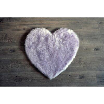 Demetra Faux Sheepskin Lavender/White Area Rug Rug Size: Novelty 28 x 31
