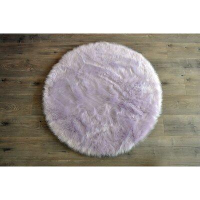 Demetra Faux Sheepskin Lavender/White Area Rug Rug Size: Round 3'6