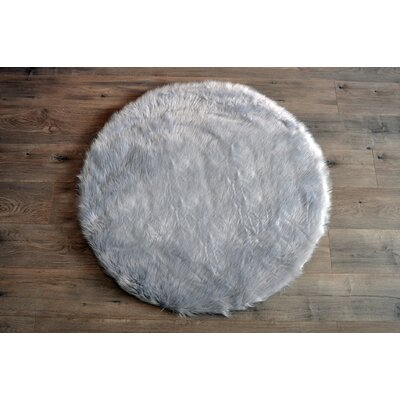 Deshazo Faux Sheepskin Gray/White Area Rug Rug Size: Round 3'6