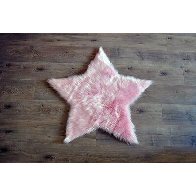 Demetrius Faux Sheepskin Pink/White Area Rug Rug Size: Novelty 3 x 3