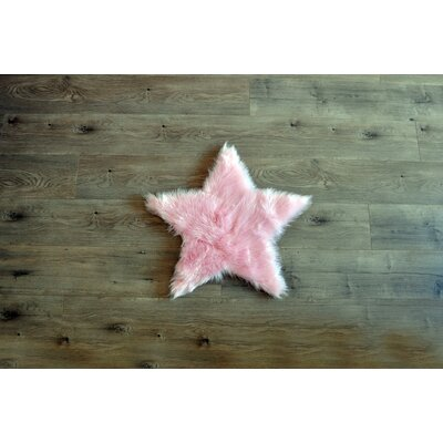 Demetrius Faux Sheepskin Pink/White Area Rug Rug Size: Novelty 2' x 2'