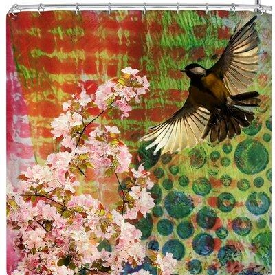 Alyzen Moonshadow Lone Bird with Cherry Blossoms Shower Curtain