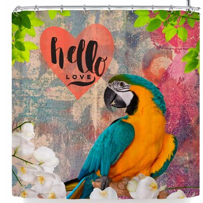 Alyzen Moonshadow Hello Love Parrot Shower Curtain