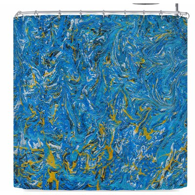 Bruce Stanfield Marbled and Gold Shower Curtain