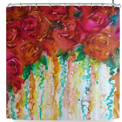 Ebi Emporium Petals On Parade Shower Curtain Color: Orange/Red