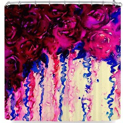 Ebi Emporium Petals On Parade Shower Curtain Color: Red/Blue
