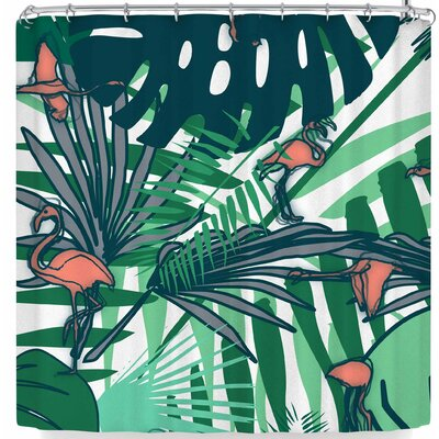 Bruxamagica Tropical Leaves Flamingo White Shower Curtain