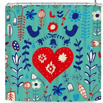 Bruxamagica Scandi Folk Aqua Shower Curtain Color: Aqua/Blue Red