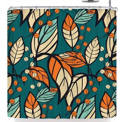 Bluelela Garden Leaves 006 Shower Curtain Color: Blue/Beige