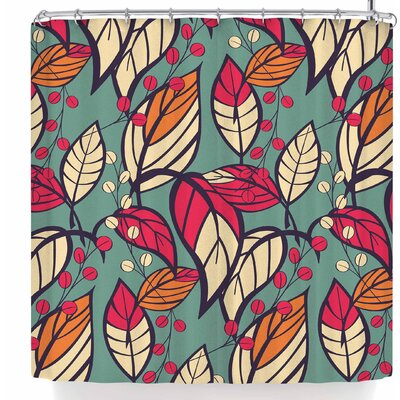Bluelela Garden Leaves 006 Shower Curtain Color: Blue/Red