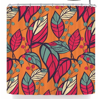 Bluelela Garden Leaves 006 Shower Curtain Color: Orange/Red
