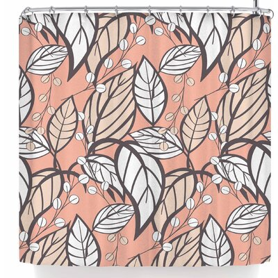 Bluelela Garden Leaves 006 Shower Curtain Color: Pink/White
