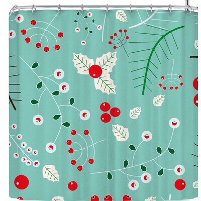 Bruxamagica Mistletoe Shower Curtain Color: Blue/Green/Red