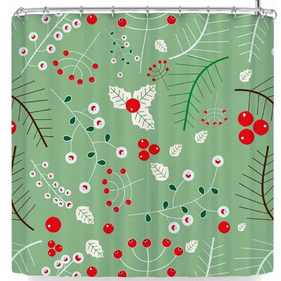 Bruxamagica Mistletoe Shower Curtain Color: Dark Green/Red