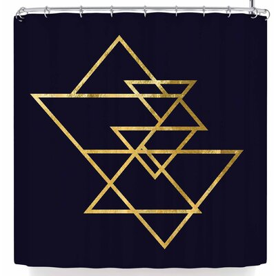 Nl Designs Triangles Shower Curtain Color: Gold/Black