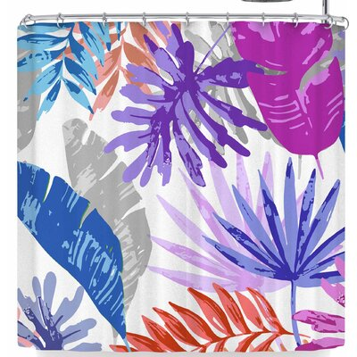 Mukta Lata Barua Tropical Vibes Shower Curtain Color: Blue/Pink