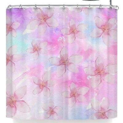 Sylvia Cook Pastel Plumerias Shower Curtain