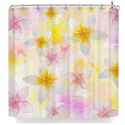 Sylvia Cook White Watercolor Plumerias Shower Curtain