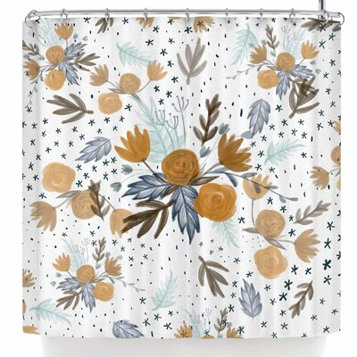 Pellerina Design Indigo Gold Floral Shower Curtain