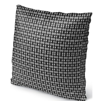 Liao Indoor/Outdoor Throw Pillow Color: White/Black, Size: 18 H x 18 W
