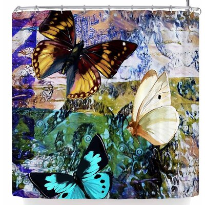 Alyzen Moonshadow 3 Different Butterflies Shower Curtain