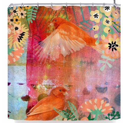 Alyzen Moonshadow 2 Birds with Flowers Shower Curtain