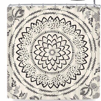 Famenxt Botanical Folk Vibes Mandala Shower Curtain Color: Beige/Black