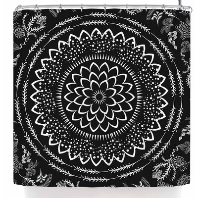 Famenxt Botanical Folk Vibes Mandala Shower Curtain Color: Black/White