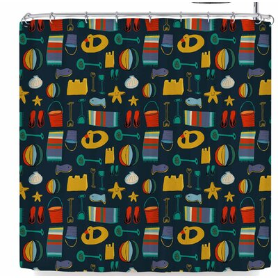 Bruxamagica Beach Gear Fun Shower Curtain Color: Navy Blue/Yellow
