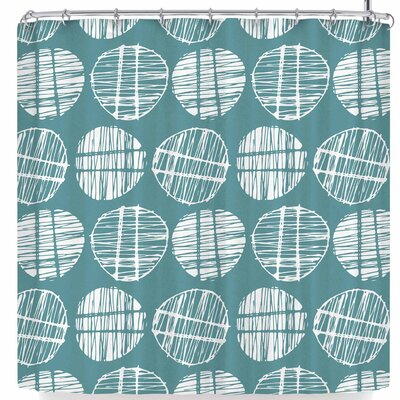 Gill Eggleston Sketched Pods Shower Curtain Color: Teal White