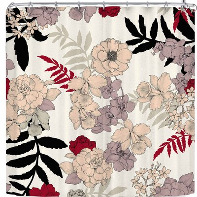 Victoria Krupp Sweet Floral Neutral Shower Curtain Color: Beige/Black/Red