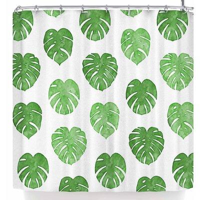 Draper Watercolor Monstera Leaves Shower Curtain