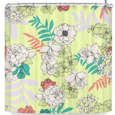 Victoria Krupp Sweet Floral Neutral Shower Curtain Color: Yellow/Green