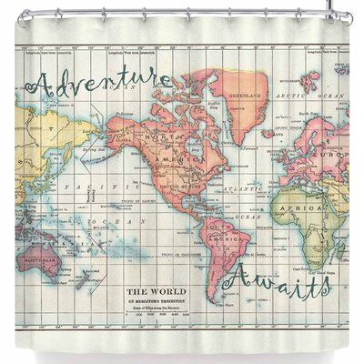 Catherine Holcombe Adventure Awaits World Map Shower Curtain