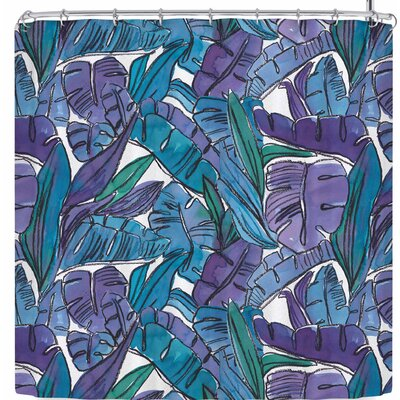 Danii Pollehn Watercolor Jungle Leaves Shower Curtain