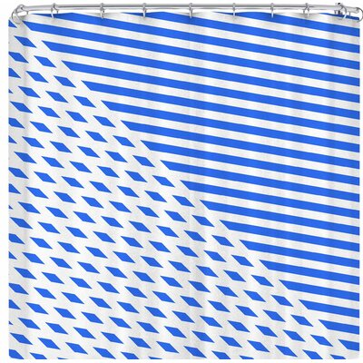 Fimbis Ovrlap Shower Curtain Color: Blue/White