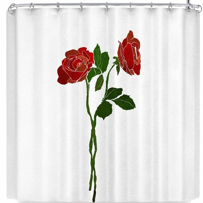 Frederic Levy-Hadida 2 Dark Roses Shower Curtain Color: Red/Green/White