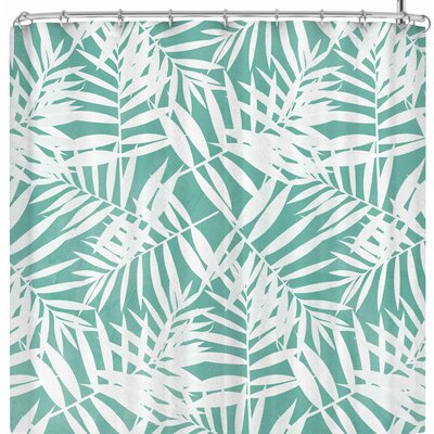 Cafelab Pastel Palm Leaves Shower Curtain Color: Green