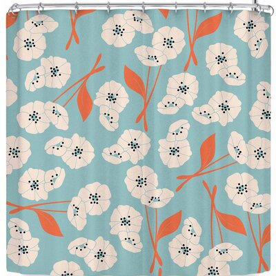 Bluelela Retro Bloom Garden 003 Shower Curtain Color: Blue/White