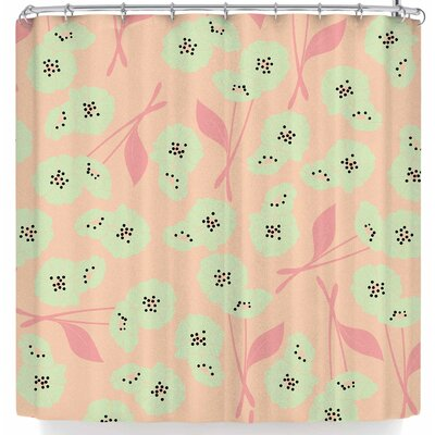 Bluelela Retro Bloom Garden 003 Shower Curtain Color: Pink/Green