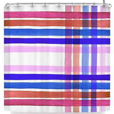 Ebi Emporium Plaid Stripes In Color 4 Shower Curtain Color: Blue/White
