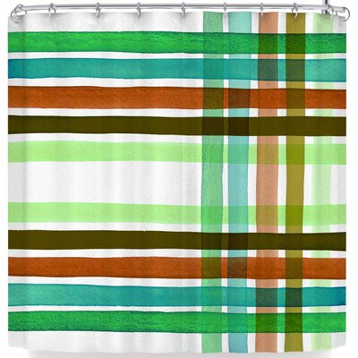 Ebi Emporium Plaid Stripes In Color 4 Shower Curtain Color: Green/White