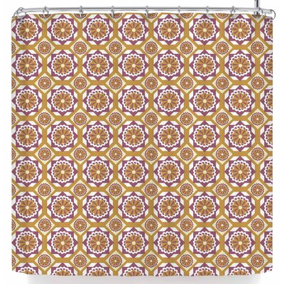 Neelam Kaur Gold Floral Octagons Shower Curtain Color: Gold