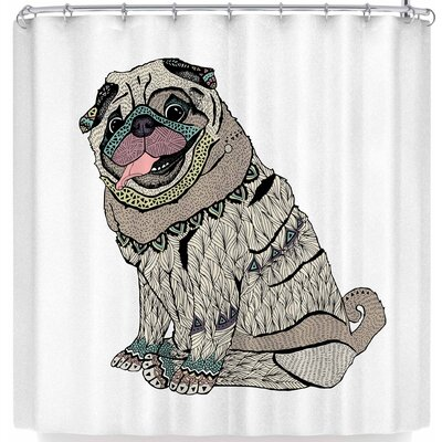 Pom Graphic Design A Happy Pug Shower Curtain