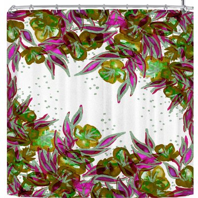 Ebi Emporium Morning Glory 3 Shower Curtain Color: Green/Pink