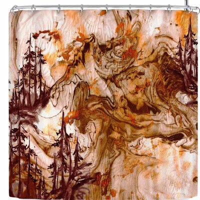 Ebi Emporium Anything Worth Having Aqua Shower Curtain Color: Orange/Brown
