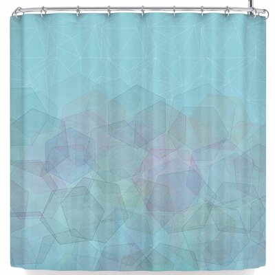 Pia Schneider Hazelnut & Hexagonal Shower Curtain Color: Sky Blue
