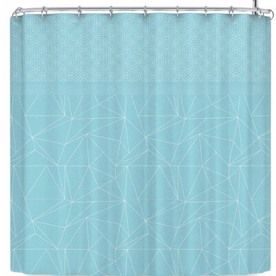 Pia Schneider Geometric Shower Curtain Color: Sky Blue